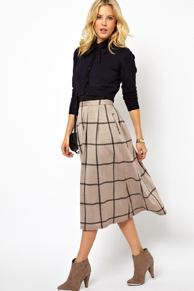 asos midi skirt in squared check print buy now