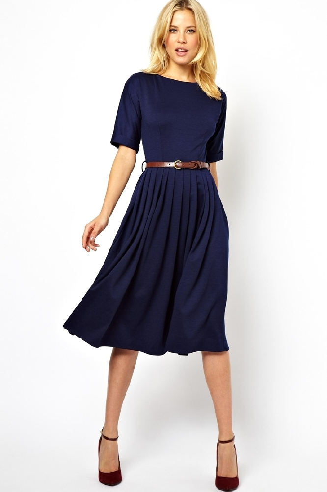 asos midi dress with full skirt and belt a must have. Black Bedroom Furniture Sets. Home Design Ideas