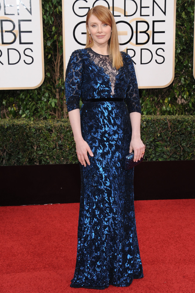 Bryce Dallas Howard at the Golden Globes in Jenny Packham