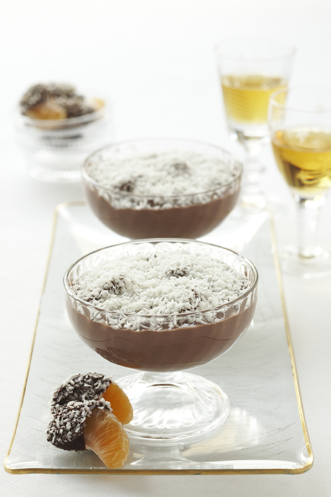 Clementine And Chocolate Dessert With Coconut Snow