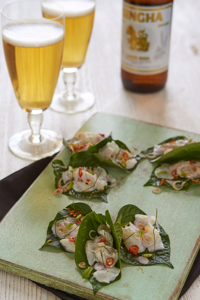 Cured Fish On Betel Leaf With Lemongrass And Mint