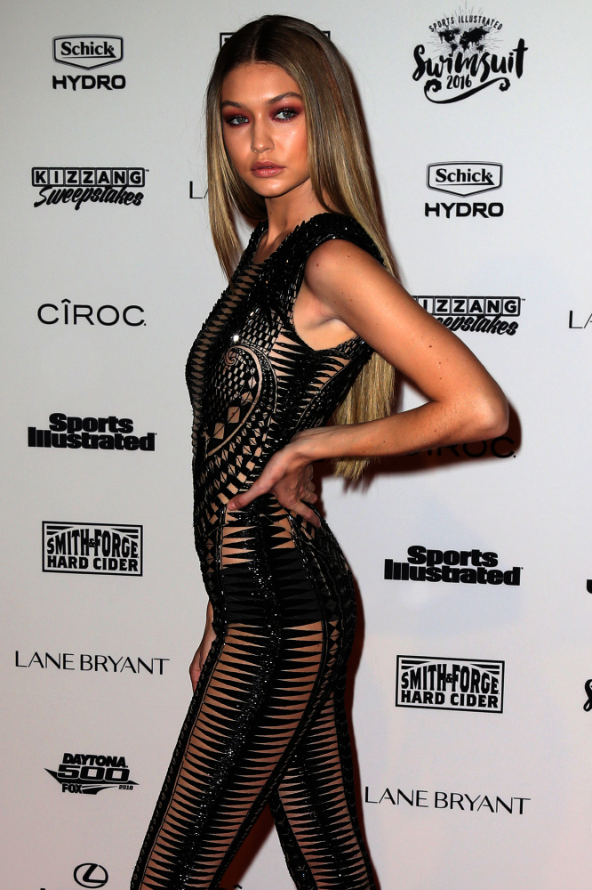 Gigi Hadid in Julien Macdonald at the Sports Illustrated 2016 Swimsuit Issue party