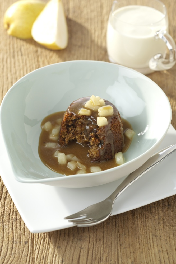Sticky gingerbread puddings with Toffee Pear Sauce