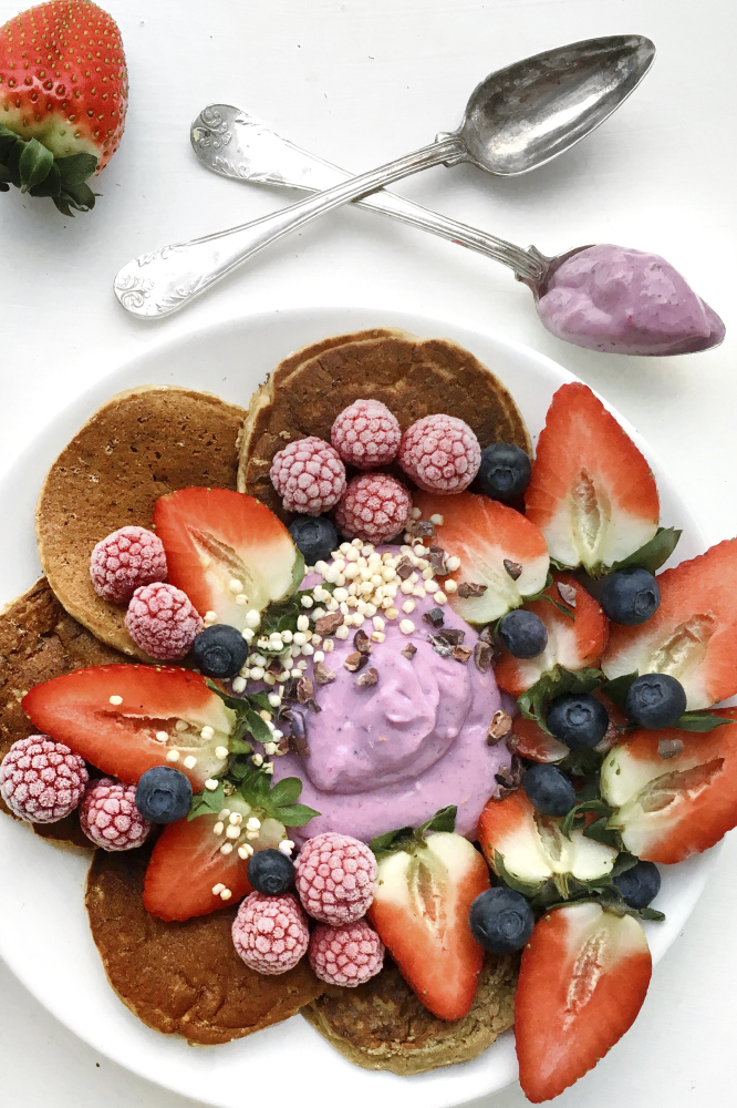 Gluten Free Vegan Pancakes with Berry Mousse