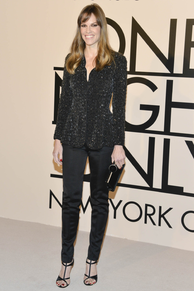 Hilary Swank looks beautiful in an embellished peplum jacket