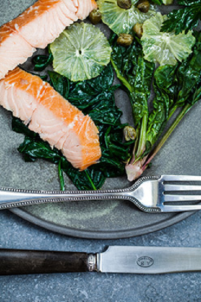 Hot Smoked Salmon, Wilted Spinach & Lemon Salad