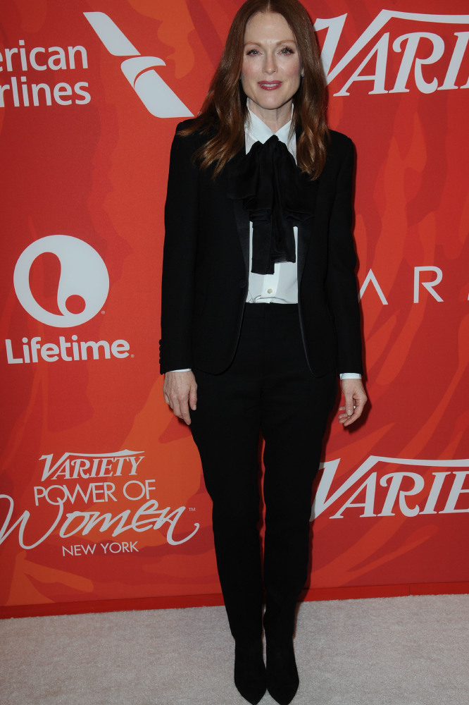 Julianne Moore accessorises with an oversized bow-tie