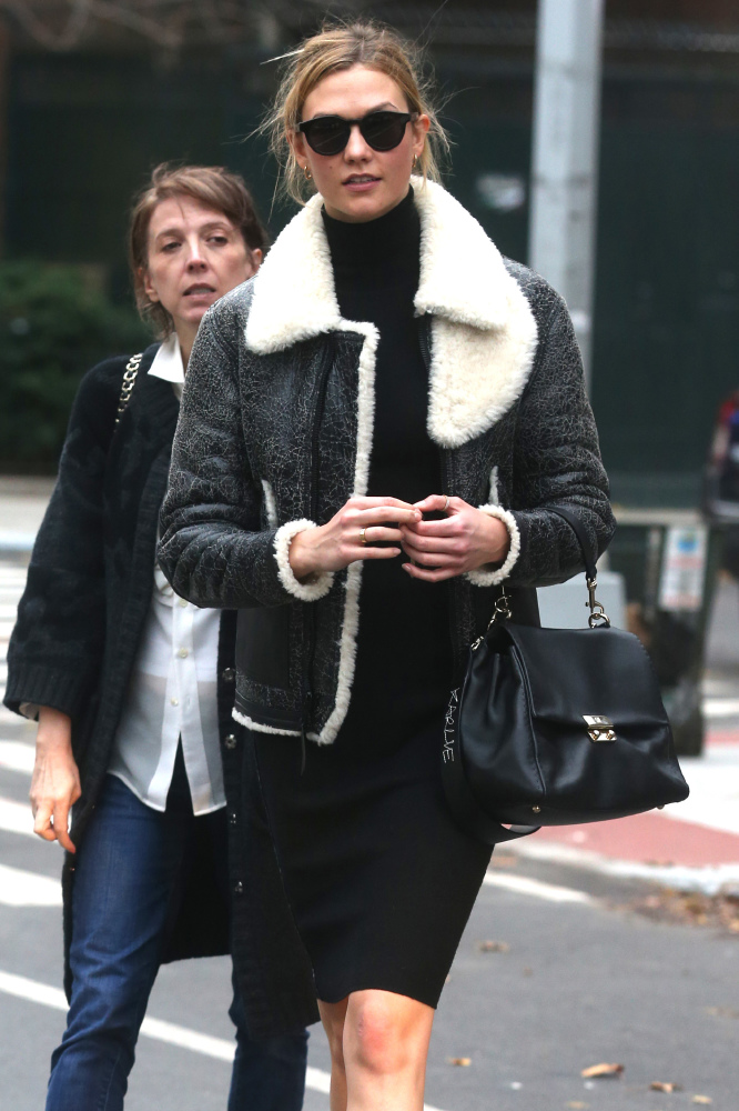 Karlie Kloss modelling Coach's painted shearling B3 bomber jacket