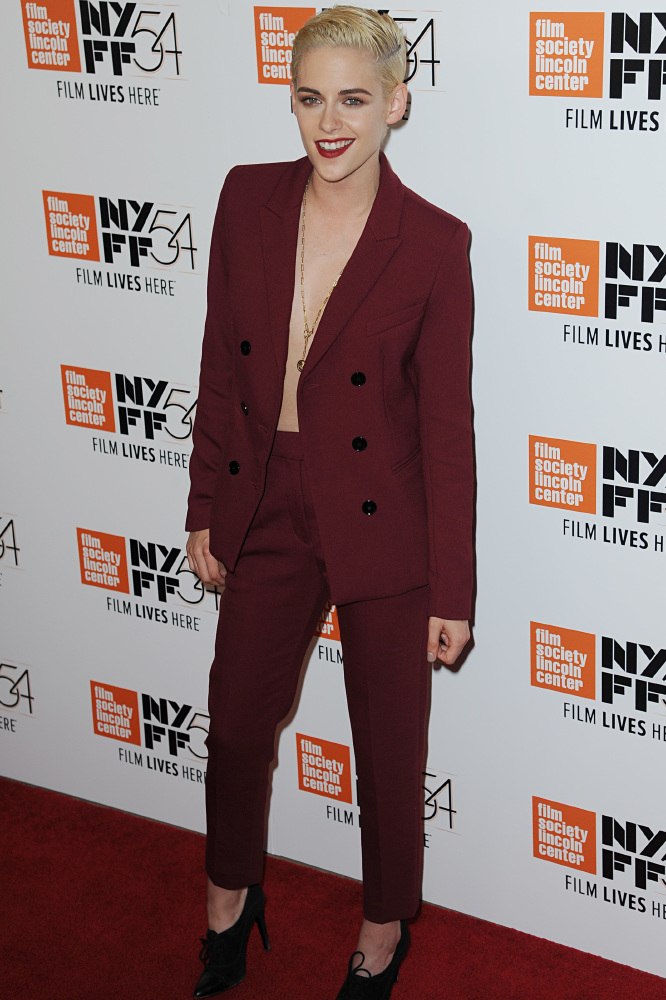 Kristen Stewart in a red Sandro trouser suit