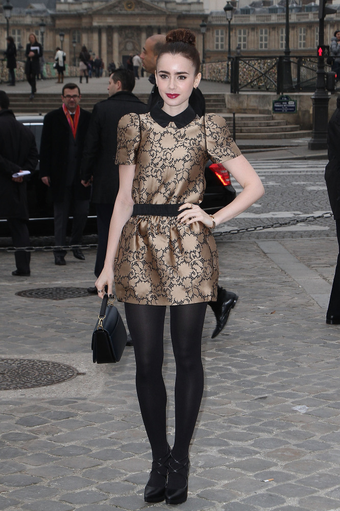 Lily Collins at the Louis Vuitton presentation