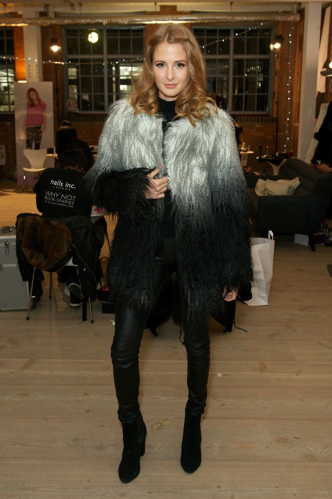 Millie Mackintosh keeps warm in a ombre faux fur coat