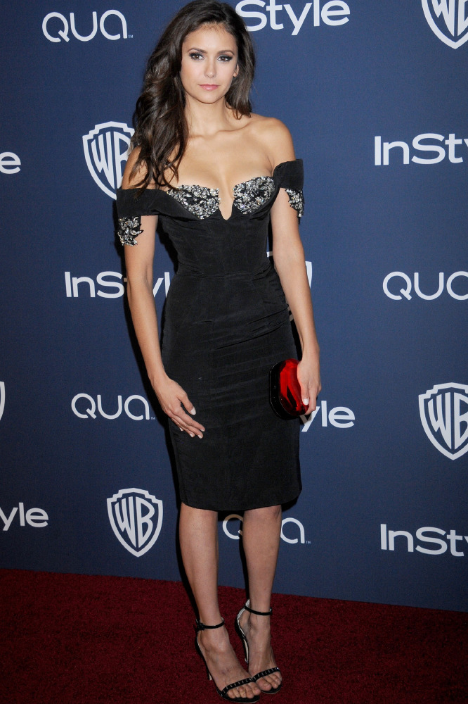 Nina Dobrev adds an embellished neckline to her LBD