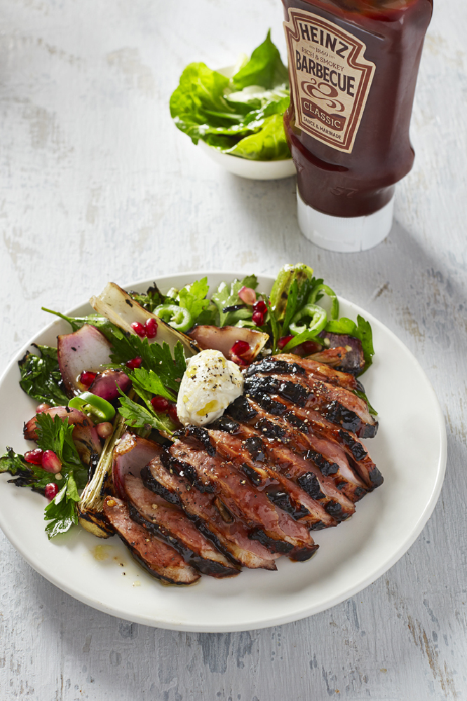 Seared Duck Breast with Barbecue sauce, Balsamic & Soy Marinade