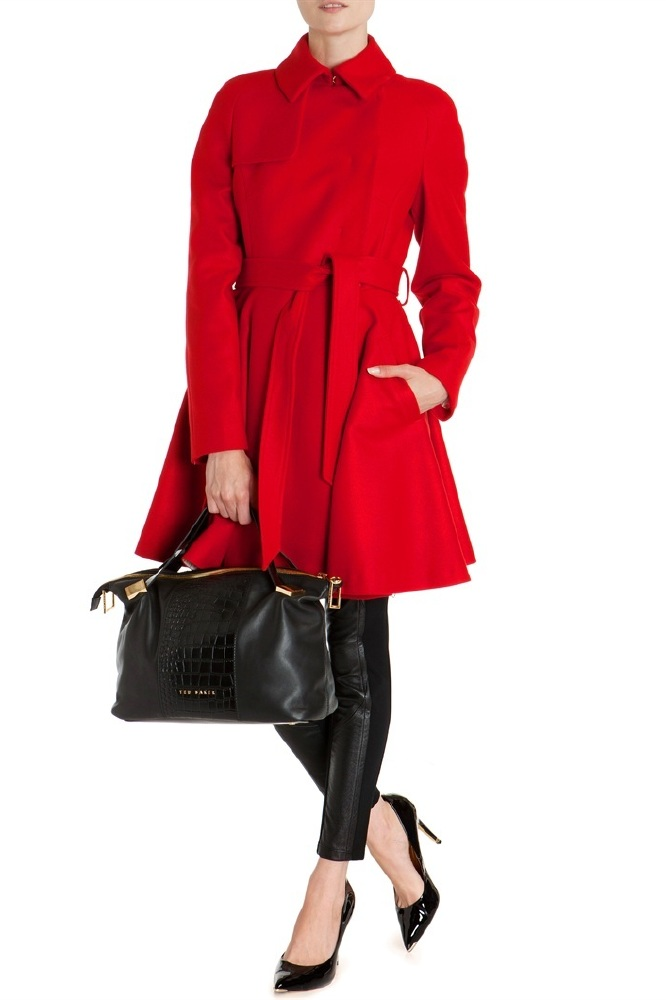 Ted Baker Red Wool Trench Coat