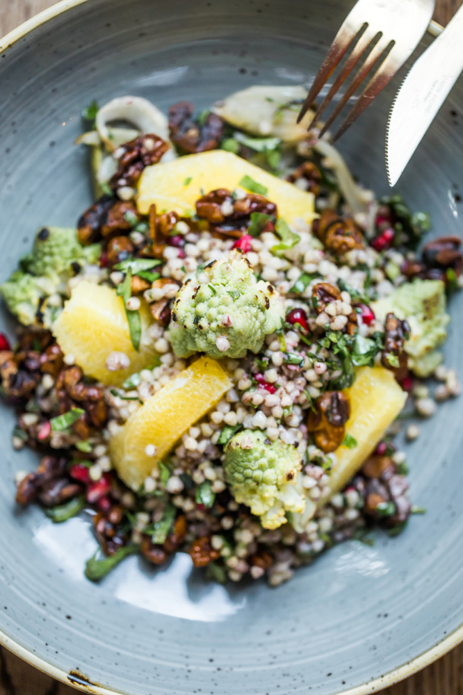 Charred Fennel, Orange, Walnut And Buckwheat Salad