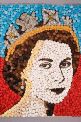 The Queen's face made from 2,012 cupcakes
