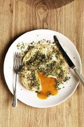 Easy over goose egg with caper and lemon crust
