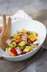 Shallot, Cucumber and Tomato Panzanella