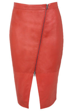 Lydia Bright's Asymmetric Zip Leather Skirt: Get the Look