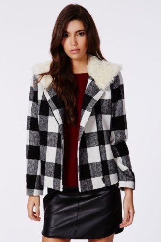 6535d1fd RAZIYA FAUX FUR HAT BLACK £10.99. MILLICENT LUMBERJACK SHEARLING COLLAR  BIKER JACKET BLACK CHECK
