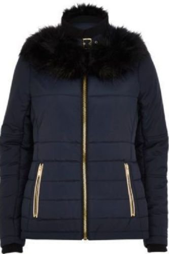 River Island Navy Faux-Fur Collar padded jacket