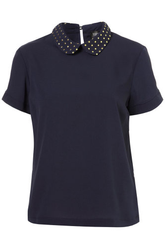 Topshop Gold Trim Collar Blouse
