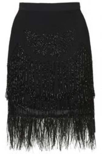 Topshop Limited Edition Beaded Feather Hem Skirt