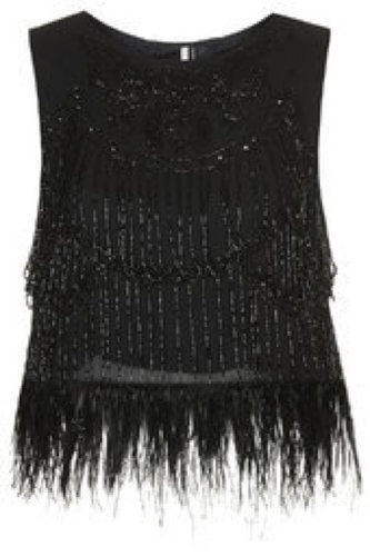 Topshop Limited Edition Feather and Bead Shell Top
