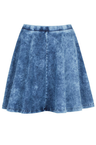 topshop stonewash denim skater skirt buy now