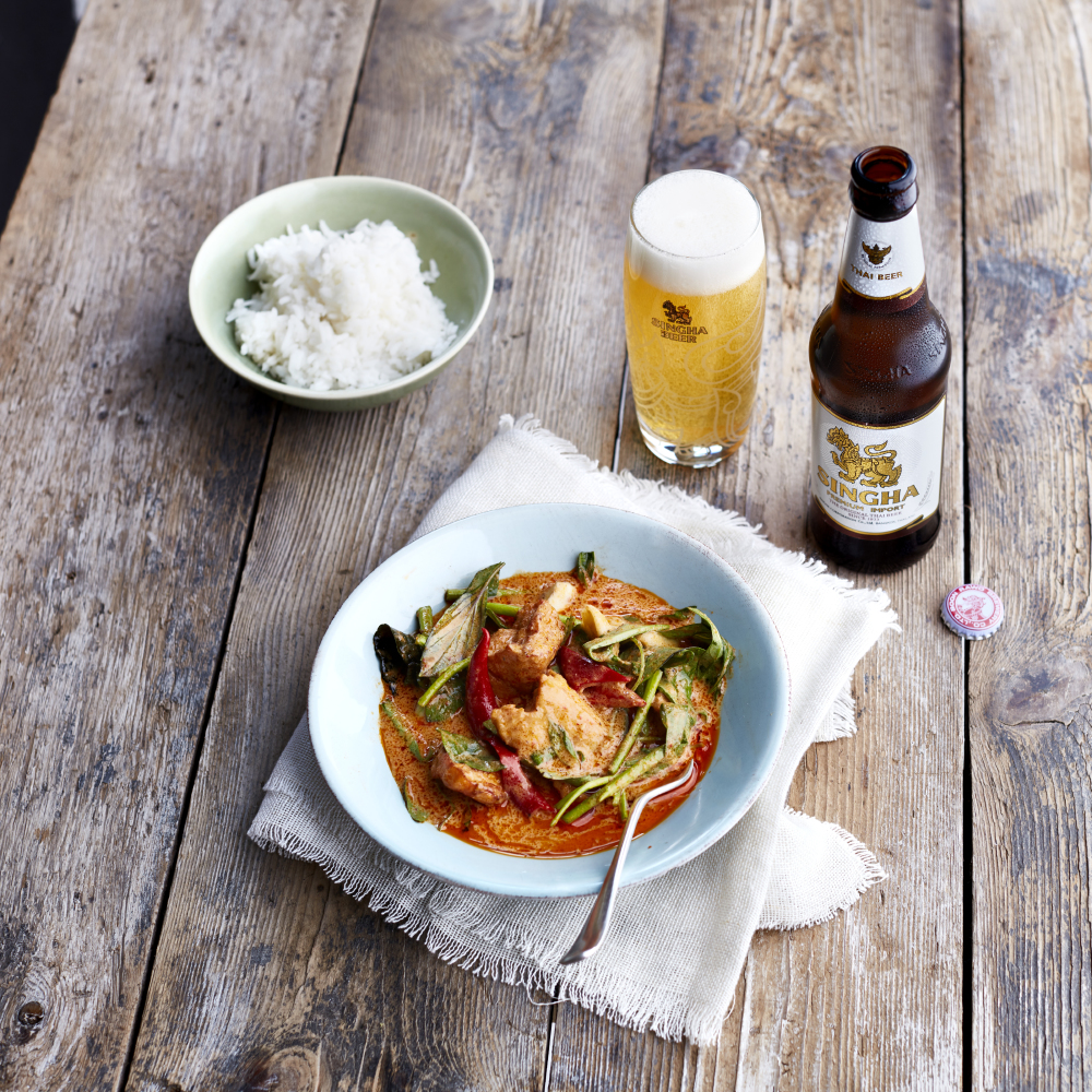 Thai Red Curry With Winter Melon, Crispy Tofu And Morning Glory