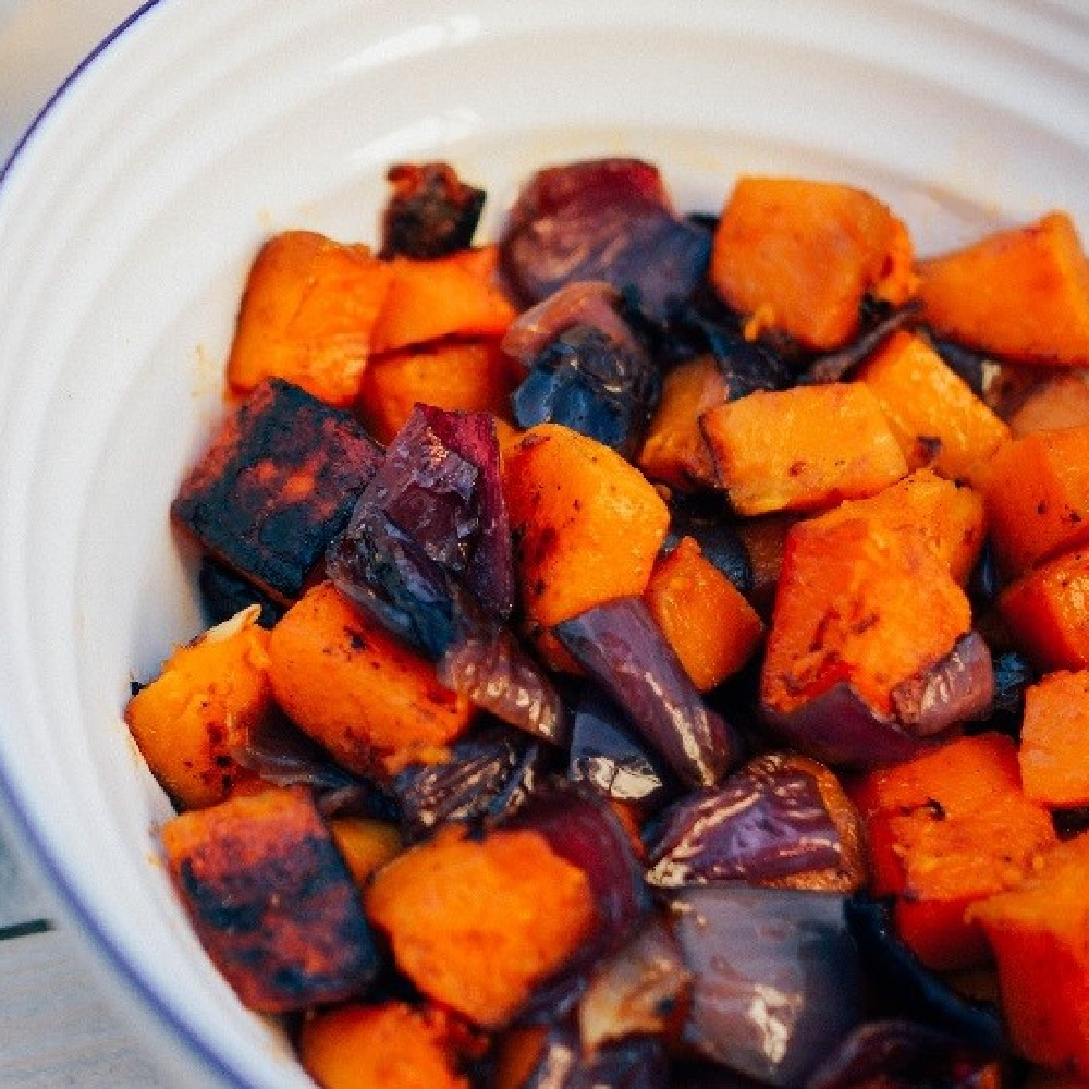 BBQ Grilled Butternut Squash And Red Onion