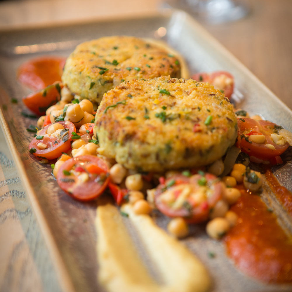 Chickpea and coriander cakes with tomato sauce and aubergine caviar