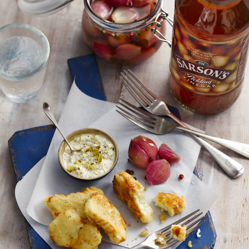 Beer-battered halloumi with homemade pickled onions and tartar sauce