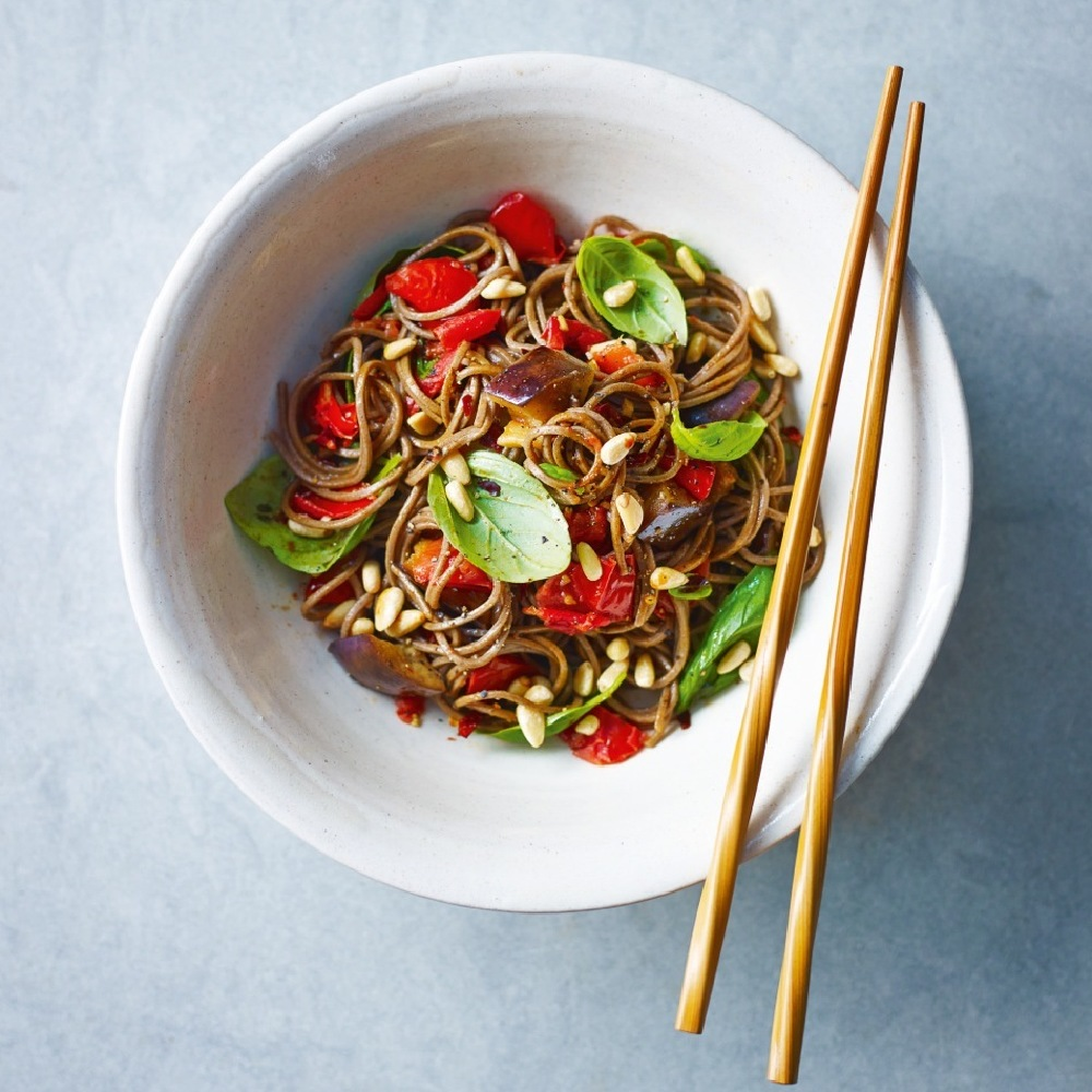 Garlic, Basil, Tomato and Aubergine Soba Noodles Recipe