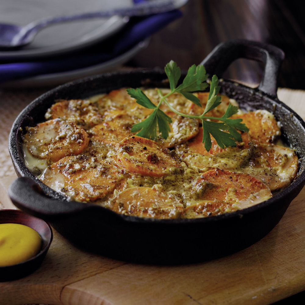 SWEET POTATO MUSTARD GRATIN