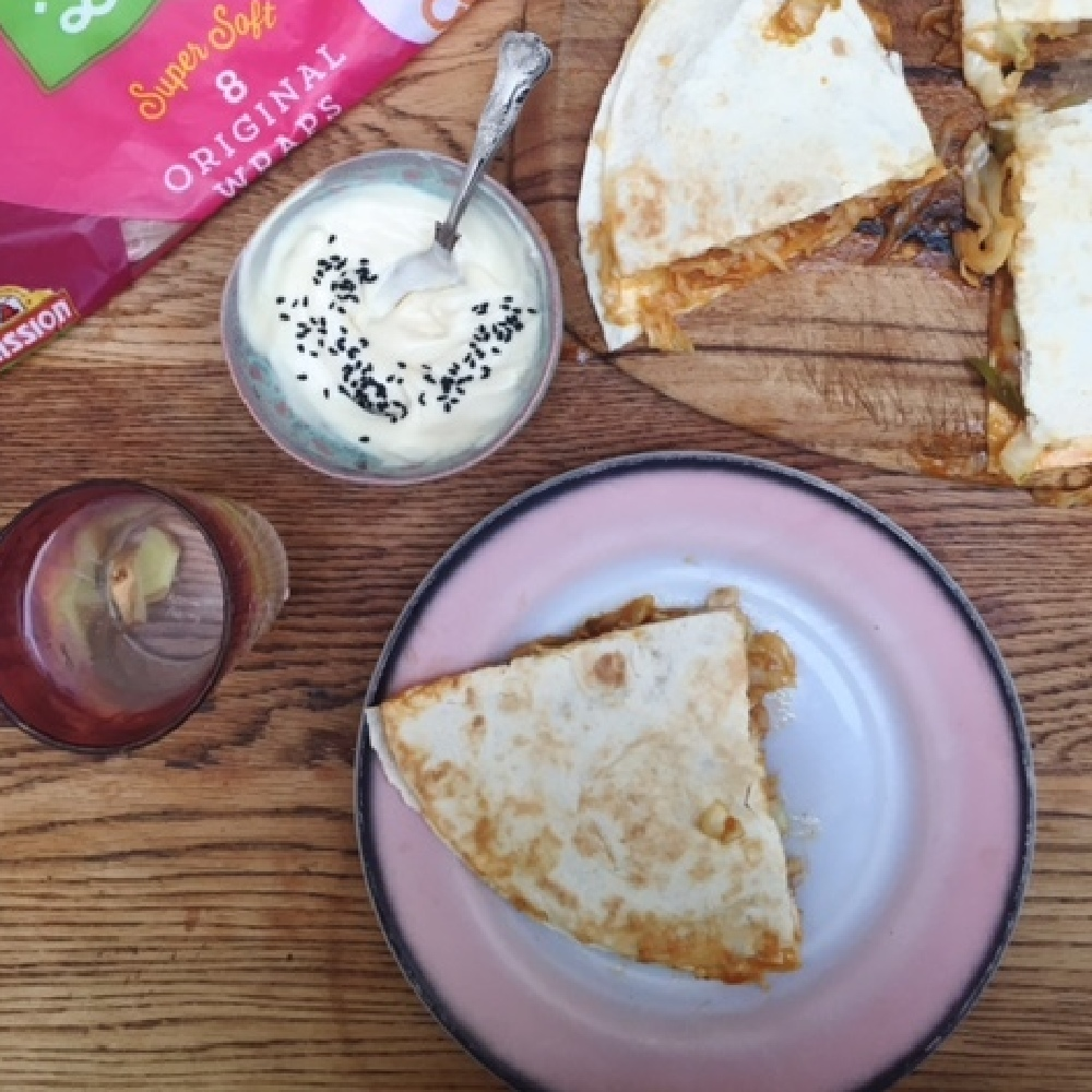 Cheat's kimchi quesadilla with toasted sesame vegan mayo