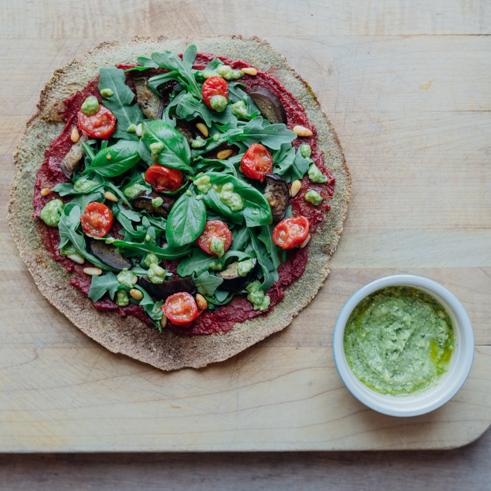 Quinoa pizza with zesty moringa pesto