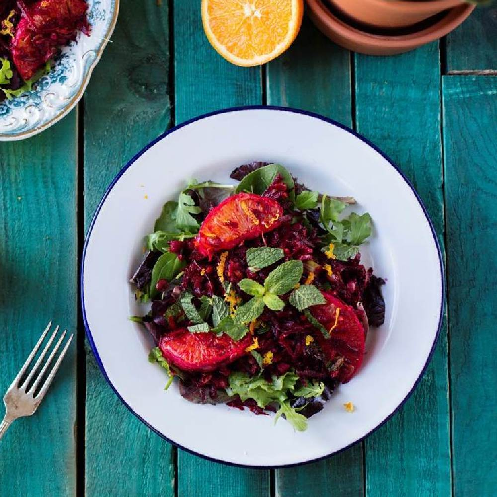 Raw Beetroot, Lentil and Mint Salad with Orange Dressing