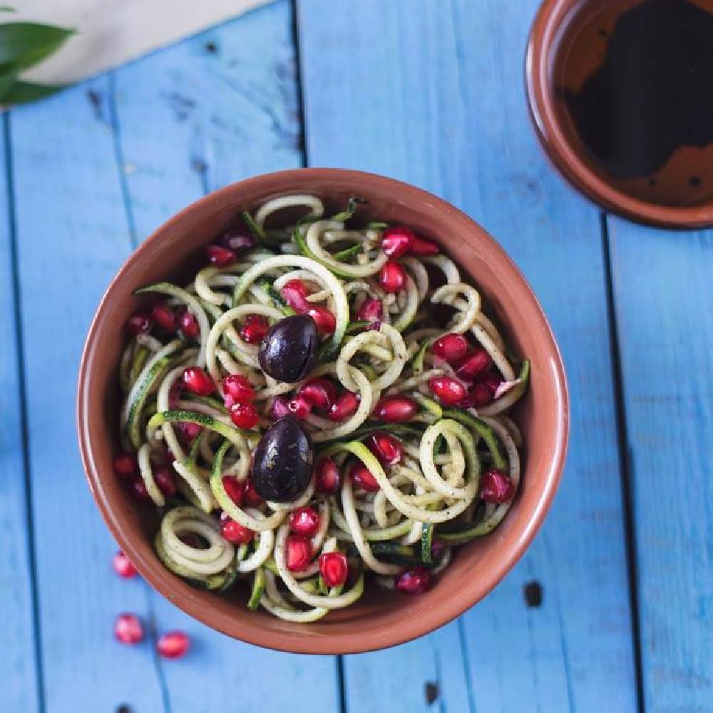Raw Pasta Salad with Olive and Pomegranate Dressing