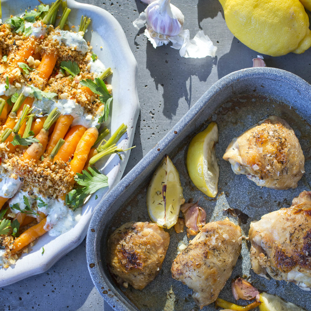 Lemon and Thyme Chicken with Steamed Carrots with Spiced Yoghurt and Garlic Breadcrumbs