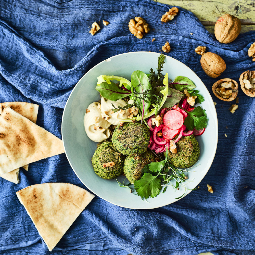 California Walnut, Falafel And Quick Pickled Radish Buddha Bowl