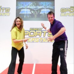 Amy Williams takes on Graeme Swan at table tennis