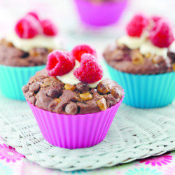 Triple Chocolate Raspberry Muffins