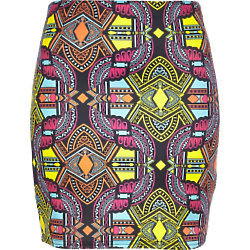 We love this bold aztec print skirt - new in at River Island.