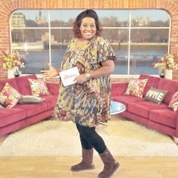 Alison Hammond, Showbiz Reporter on ITV's flagship daytime programme, This Morning, poses on the show's brand new sofa that has been designed by DFS i