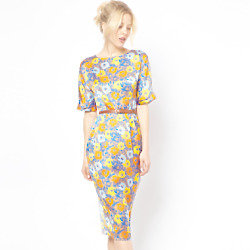 ASOS Soft Wiggle Dress In Floral Print With Belt