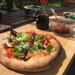 Shiitake Mushroom, Aubergine, Chilli and Coriander Pizza