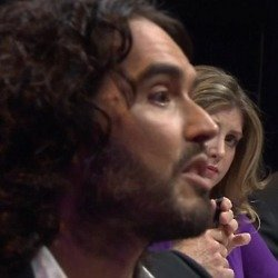 Russell Brand, Penny Mordaunt and Nigel Farage / Credit: BBC