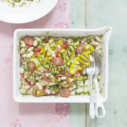 Bean Salad With Grilled Courgettes And Basil - Credit Georgia Glynn Smith
