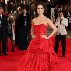 Berenice Marlohe looked beautiful in her dramatic red gown from Vivienne Westwood